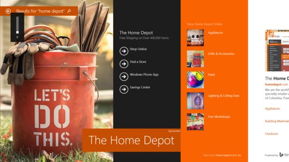 Bing Hero ad Home Depot